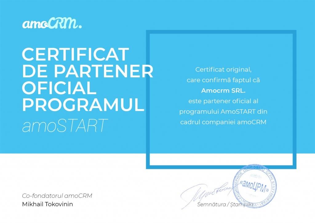 amocrm certificat de partener oficial al programului AmoStart